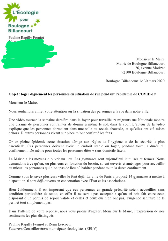[COVID19] Lettre au Maire de Boulogne - Billancourt